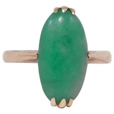 Antique 14k Natural Jade Ring