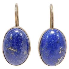 Estate Leverback Lapis Vermeil Earrings Beautiful