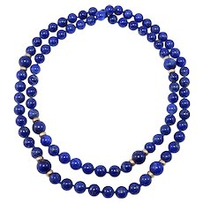 Fine Natural Lapis Beads 14k Spacers Hand Knotted 8mm 29 Inches