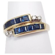18k Natural Sapphires And Diamonds Bypass Channel Set Ring