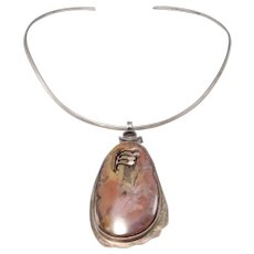 Modernist Sterling Silver Artisan Agate Pendant On Silver Collar