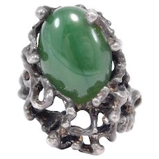 Sculptural Modernist Jade Freeform Silver Ring Mid Century