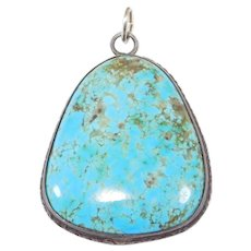 Large Gorgeous Turquoise Silver Pendant Vintage Great Color