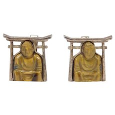Vintage Sterling Carved Tiger Eye Buddha Cufflinks
