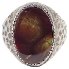 Hand Forged Sterling Signed Fire Agate Ring Vintage