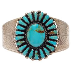 Zuni Signed Turquoise Petit Point Sterling Silver Cuff Bracelet