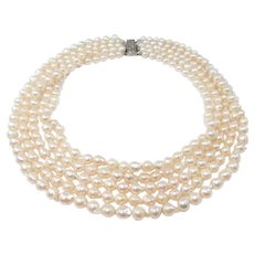Antique 5 Strands Cultured Pearl Necklace Saltwater Pearls Filigree Clasp