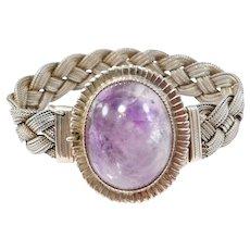 Art Deco Sterling Cabochon Amethyst Mesh Bracelet Beautiful