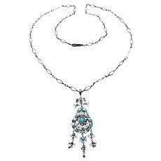 Victorian Persian Turquoise Filigree Necklace Seed Pearls Circa 1880