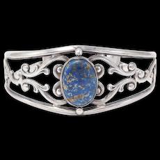 Ornate Sterling Foliate Agate Cuff Bracelet Beautiful