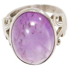 Art Deco Cabochon Amethyst Silver Chinese Ring