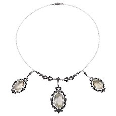 Sterling Art Deco Citrine Marcasite Festoon Necklace Lovely