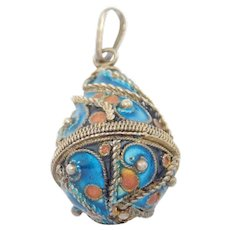 Antique Enamel Egg Pendant Charm Vermeil Beautiful