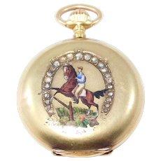 18k Antique Ladies Watch Equestrian Horse Theme With Rose Cut Diamonds Hunter Case