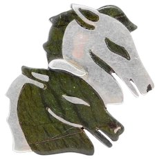 Los Castillo Taxco Rare Double Horsehead Agate Silver Brooch
