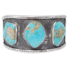 Navajo Turquoise 3 Stone Sterling Cuff Bracelet