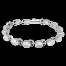 Elegant Estate Moonstones And Sapphires Bracelet In Silver