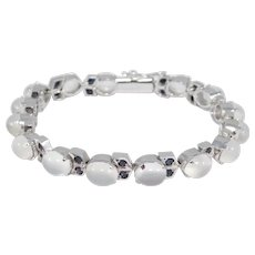 Elegant Estate Moonstones And Sapphires Bracelet In Silver