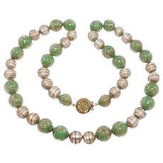 Beautiful Venetian Glass Necklace Italian Relief Foiled Beads