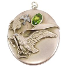 Victorian Oversized Figural Locket Eagle And Snake Repousse