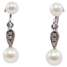 Elegant Deco 14k Diamonds And Pearl Drop Earrings