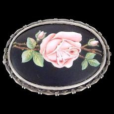Art Deco 900 Silver Austrian Enamel Rose Brooch Beautiful