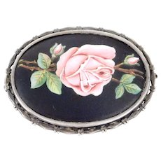 Art Deco 900 Silver Austrian Enamel Rose Brooch Beautiful