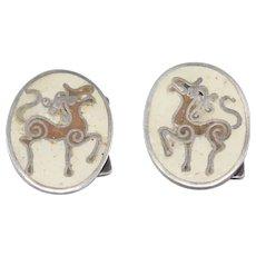 German Matte Enamel Horse Cufflinks In Silver Perli Style
