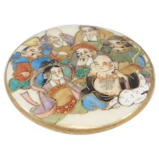 Antique Meiji Satsuma Button Large With 7 Immortals