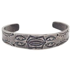 Early Navajo Silver Stampwork Cuff Bracelet Beautiful