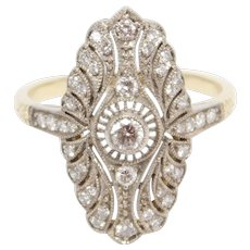 Edwardian Filigree 18k Platinum ½ Carat Mine Cut Diamonds Ring Elegant