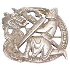 Antique 830s Norwegian Dragon Viking Celtic Dragestil Brooch