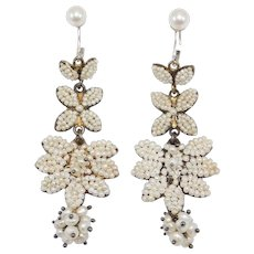 Antique Ornate Natural Seed Pearls Drop Earrings Fabulous