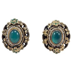 Chrysoprase Seed Pearl Ornate Austrian Silver Vermeil Earrings