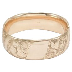 Extra Wide Victorian Rose Gold Filled Bangle Bracelet