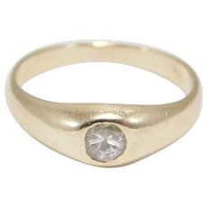 14k Diamond Gypsy Set Ring Antique Pinky Or Baby Ring