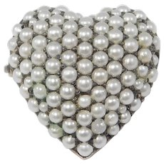 Antique Seed Pearl Heart Brooch Pendant Fishel Nessler C.1900