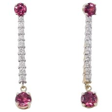 Estate Fine Drop Earrings 14k Diamonds And Rhodolite Garnets