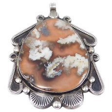 Artisan Silver Southwest Agate Hand Forged Pendant