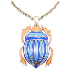 Rare Egyptian Enamel Scarab Large Trifari Necklace