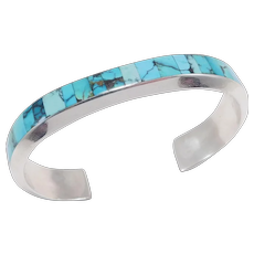 Zuni Turquoise Silver Inlay Cuff Bracelet By Johnny Coonsis