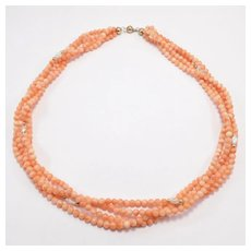 Pretty Four Strand Salmon Coral & 14k Necklace Estate