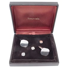 Fine Tiffany & Co. Sterling Boxed Cufflinks And Stud Set