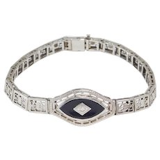 Art Deco 10k Filigree Onyx And Diamond Bracelet