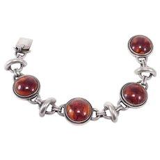 Sterling Danish Amber Cabochon Bracelet Signed Dgh 925S