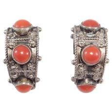 Ornate 800 Silver Italian Red Coral Cabochon Earrings