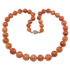 Graduated Strand Antique Chinese Carnelian Agate Beads Necklace