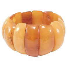 Antique Butterscotch Egg Yolk Amber Bracelet 50 Grams