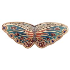 Antique Japanese Signed Cloisonne Butterfly Pin Meiji