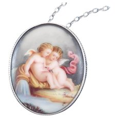 Victorian Cupids Angels Hand Painted Porcelain Brooch Pendant Silver